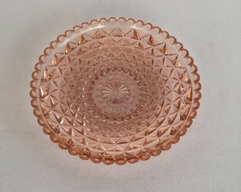 Vintage Pressed Glass Plate Blush Peach Pink
