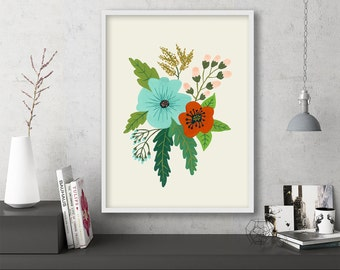 "floral art prints, flower wall art, folk art, instant download printable art, large art, large wall art, art print -""Folk Art Flowers No. 5"""