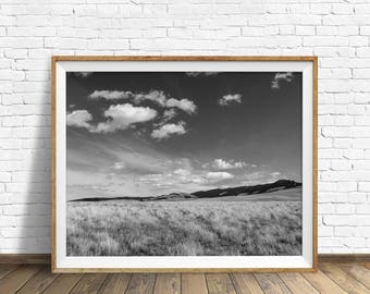 "landscape photography, large landscape art, instant download printable art, digital download art, black and white, art prints - ""Grasslands"""