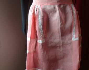 Kitchen Apron Mid-Century Sheer Peach with Lace