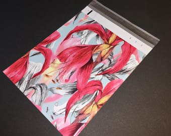 100 Designer Poly Mailers 10x13 RED Tropical Flowers Envelopes Shipping Bags Spring Mother's Day