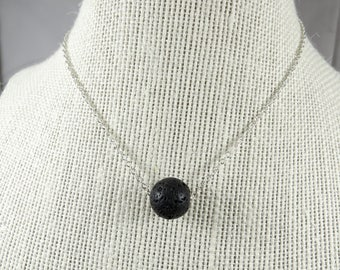 Essential Oil Diffuser Necklace, Minimalist Black Lava Stone Necklace, Sterling Silver Floating Lava Bead Diffuser