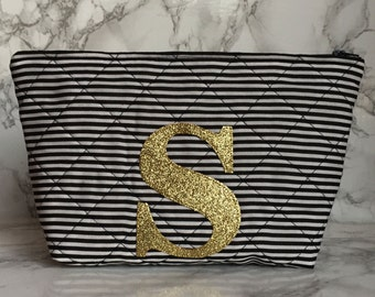 Personalised Initial Quilted Cosmetic Bag