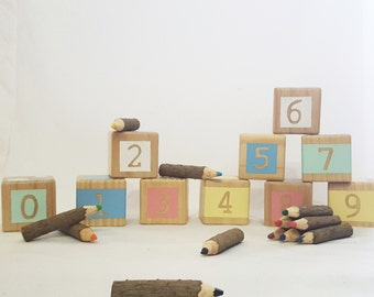 0-9 number blocks - wooden stacking blocks
