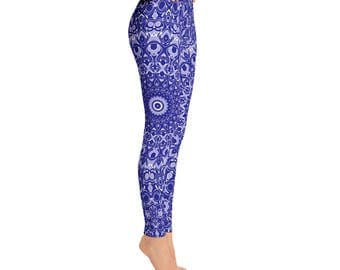 Navy Blue Leggings - Mid Rise Yoga Pants, Yoga Leggings, Mandala Printed Leggings, Patterned Yoga Tights