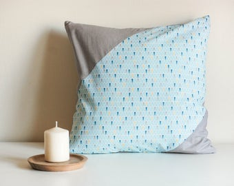 Cushion sewn 40x40cm hand - grey and blue cover