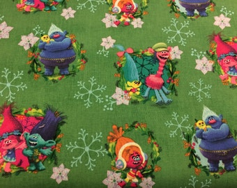 DreamWorks Trolls Christmas snowflake fabric, movie fabric, cartoon fabric, novelty fabric, movie fabric, Poppy fabric