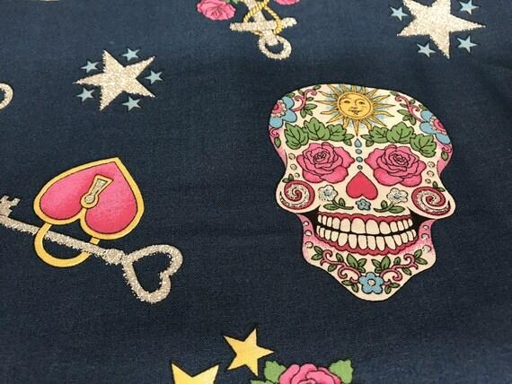 Navy Blue Glitter Nautical Sugar Skull Amp Anchor Fabric