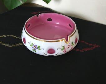 White Cut to Cranberry Glass Ashtray Bohemian Czech Vintage | Floral Design