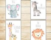 Safari Nursery Decor, Nursery Wall Art, Baby Animal Prints, Jungle Animals, 8x10 Wall Decor, Kids Room Elephant Giraffe Zebra Lion Set of 4