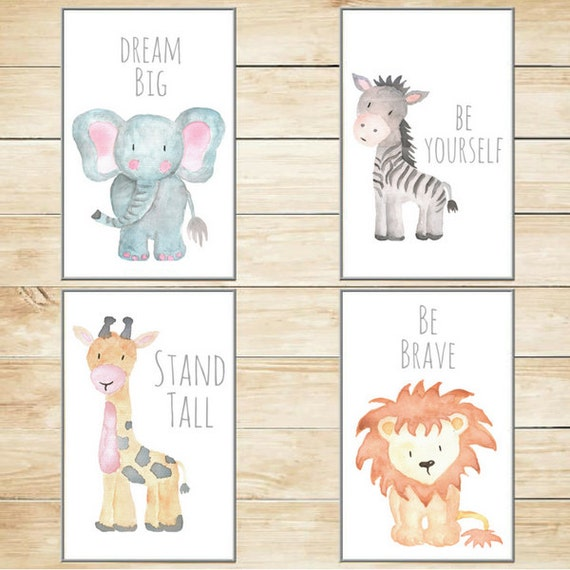 Safari Nursery Decor Jungle Theme Nursery Nursery Artwork: Safari Nursery Decor Nursery Wall Art Baby Animal Prints