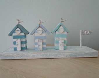 Driftwood beach huts, driftwood decor, coastal decor, driftwood art, Mother's Day gift, beach decor, beach cottages, wooden houses