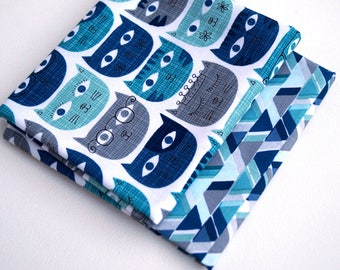 Blue and Grey Quilt Fabric Fat Quarters with Fun Cats - Modern Cotton Fabric in Kittens with Glasses and Tiaras