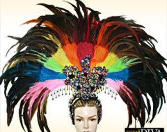 Feather Headdress - Rainbow Showgirl - Feather Samba Headdress, Showgirl Headdress, Sambakopfschmuck,coiffe plume