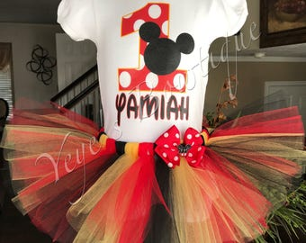 Mickey Mouse Tutu Birthday Outfit | Red, Black, and Yellow Tutu | 1st 2nd 3rd 4th 5th
