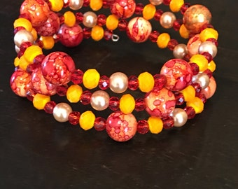 Red and Orange Wrap Bracelet