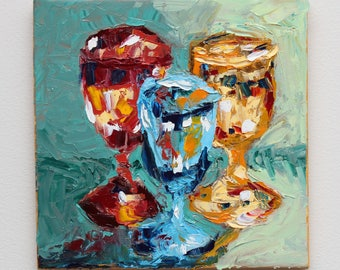 Bachelor Glassware, Original Still Life Oil Painting // 8 x 8 inches