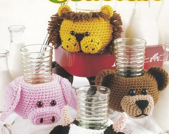 Kid's Coasters, Annie's Attic Crochet Pattern Booklet 871517 Animal Cozies RARE