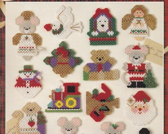 Christmas Magnets, Leisure Arts Plastic Canvas Pattern Booklet 1465 Classic Holiday Fridgies Motifs