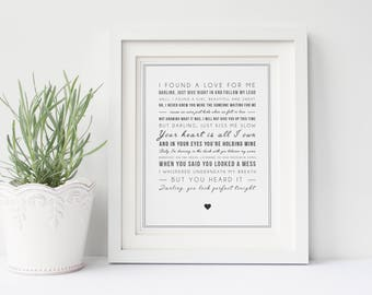 Ed Sheeran 'Perfect' Song Lyrics, Typographic Song Lyric Print - Music Poster - Gift for Music Lover - Can be personalised/digital