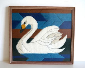 Vintage tapestries painting Swan scene framed. Vintage Needlepoint. Embroidery tapestry hand made. Painting hand stitched. 27 cm x 31 cm