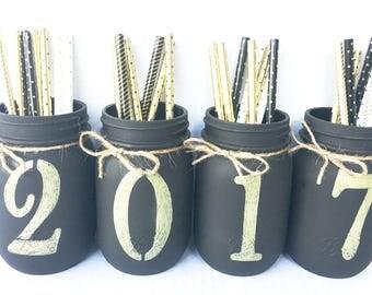 Set of 4 Hand Painted Mason Jars, Home Decor, Graduation Centerpieces, Class of 2017, Graduation Gifts, Graduation Mason Jars, Rustic Decor!
