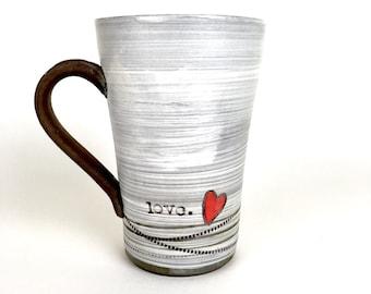Handmade pottery mug love with heart