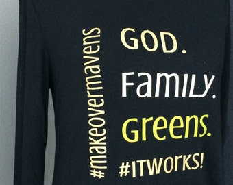 IT WORKS! Custom Tee   God. Family. Greens.   Graphic Tee   #PRAYMOHR® Designs   It Works! Clothing   Customizable Team Name
