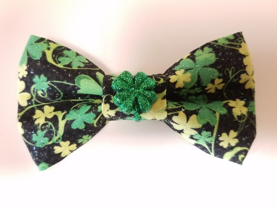Four Leaf Clover Bow Tie for Cat or Small Dog Collars, Matching Velcro Collar