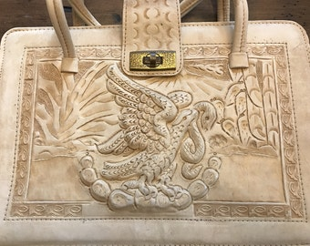 Vintage Tooled Leather Handbag, Off-White Leather, Mexican, Mayan, Eagle, Snake, Cactus (B490)