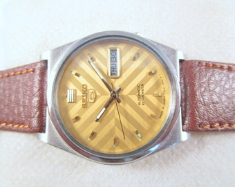 100% Auth VINTAGE SEIKO WATCH Automatic Original Golden Dial Day-Date Steel Case