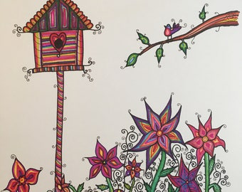 Bird house and flowers illustration-childrens bedroom-size A3-marker on cartridge paper