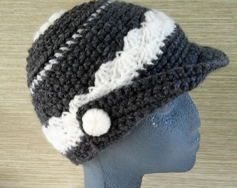 Hat in crochet buttons fabrics - Crocheted gray hat with visor with handmade buttons - Handmade hats-Wool beanies-Knitted hats -