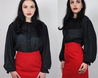 vintage sheer blouse | chiffon black shirt | ruffle collar | size UK 14/16 | gothic romantic