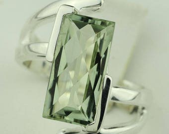 Prasiolite Silver Ring, Faceted Prasiolite, Green Quartz Gemstone Ring in Sterling Silver