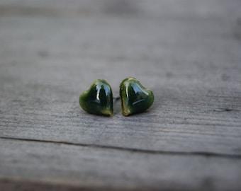 Bottle green heart stud earrings, Ceramic stud, ceramic green stud, ceramic hearts, ceramic earrings, surgical steel posts, gift idea