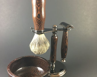 Men's Shaving Kit hand-crafted from Wenge