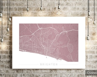 Brighton Map - City Street Map of Brighton, England - Art Print Watercolor Illustration Wall Art Home Decor Gift - COLOUR PRINTS