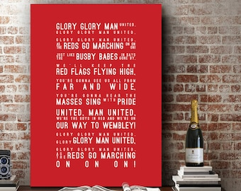 Glory Glory Man Utd - Manchester United Inspired Song Wall Art Song Lyrics Home Decor Anniversary Gift Typography Lyric PRINT