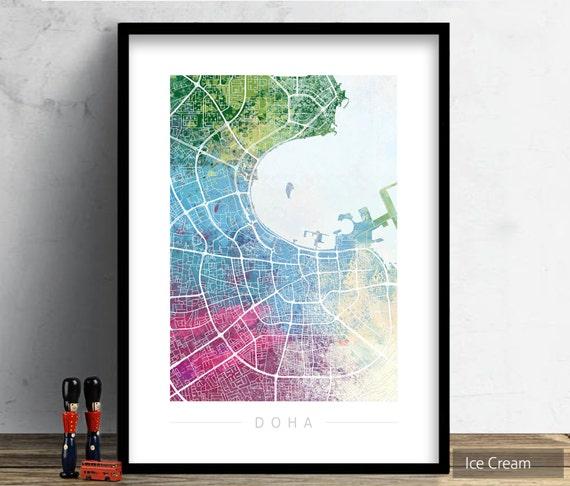 Doha map city street map of doha qatar art print for Home decor qatar