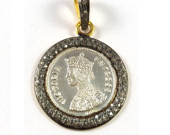 50% OFF SALE 1 Piece Pave Diamond With Stamped Coin Pendant  925 Sterling Silver Antique Finish Pendant 925 Sterling  34 mm X 22 mm #Gsd003