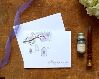 Purple Birdcages Personalized Folded Notes - Set of 10