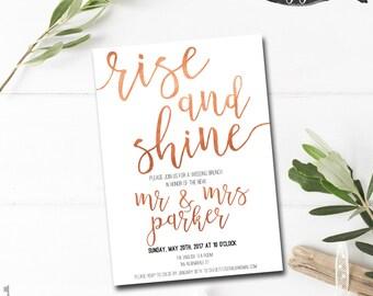 post wedding brunch invitation printable rise and shine