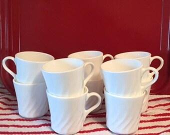 Vintage White Corningware Swirl Mugs-Set of 8