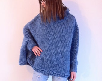 Super Chunky Sweater / Knitted Poncho / Alpaca Sweater / Knit Sweater / Chunky Sweater / Chunky knits / Winter Sweater
