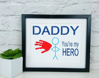 Personalised Papercut handprint  art - Valentines or Birthday Gift - new daddy, dad, pops, father, parent,