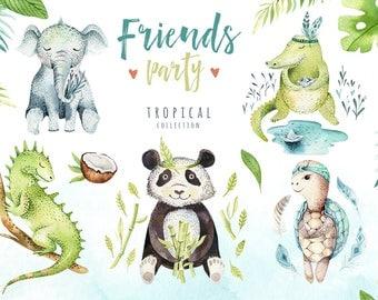 Watercolor tropical animal clipart. Digital kids illustration. nursery cute animals: bohemian elephant, crocodile, iguana, turtle, and panda