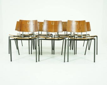 308-097.1 Danish Mid Century Modern Teak Stacking Chairs Office Each (5)