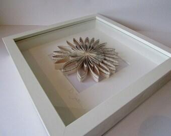 Framed Paper Flower; Daisy - White Frame