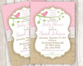 Bird Baby Shower Invitation - Baby Bird Shower Invitation - Burlap Shower Invitation - Lace Shower Invitation - Vintage Baby Shower - BBBR02